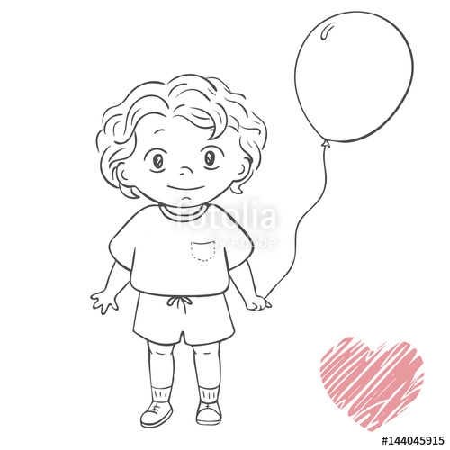 Outline of a child holding balloons clipart svg royalty free library little boy holding balloon. cartoon character outline ... svg royalty free library