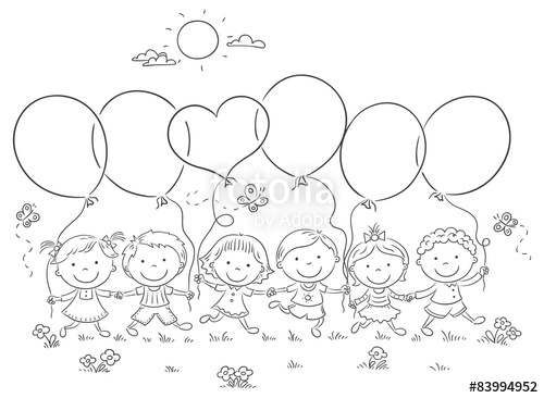 Outline of a child holding balloons clipart banner freeuse stock Kids with Balloons Outline\