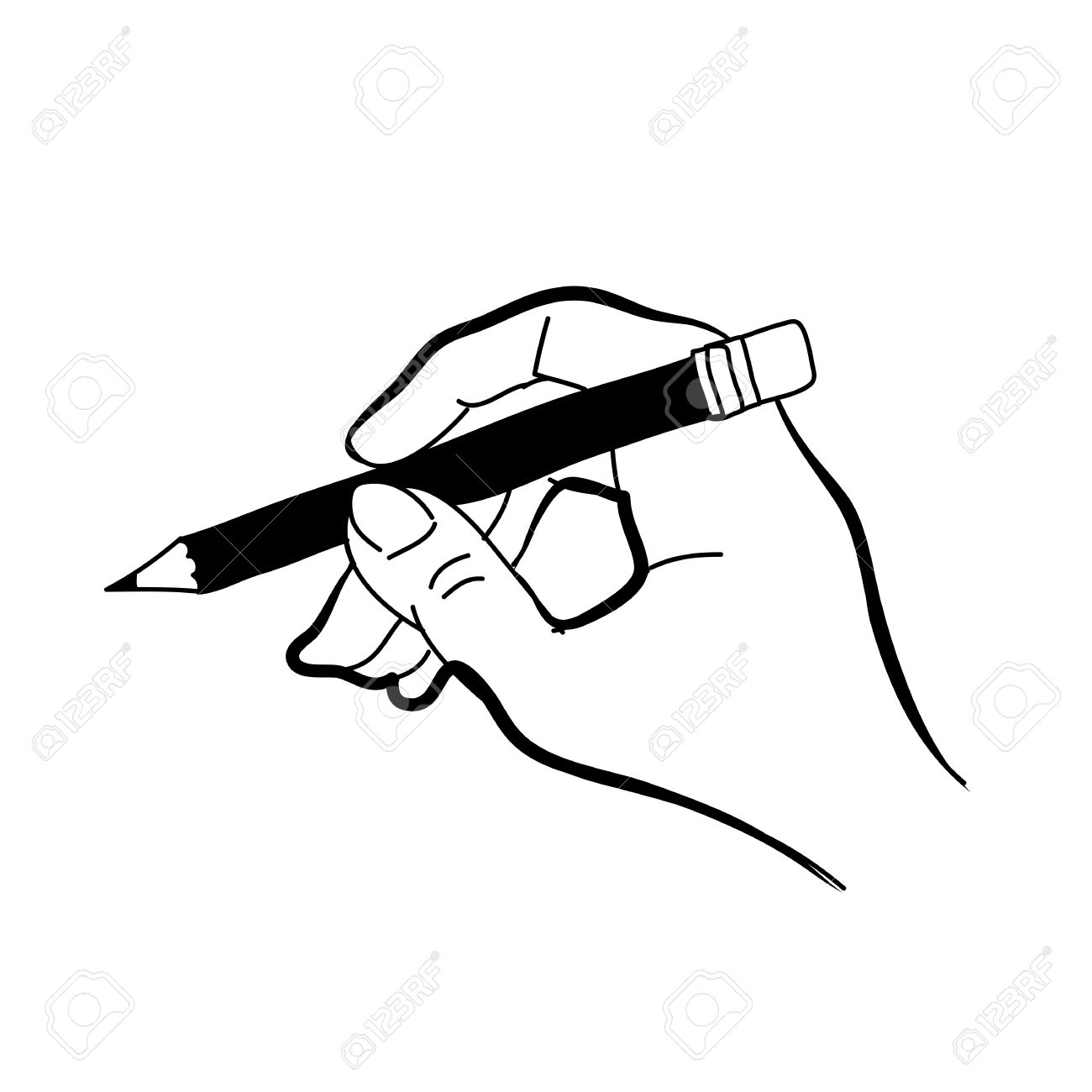 Outline of a hand and pencil drawing clipart svg freeuse download Hand Holding Something Sketch at PaintingValley.com ... svg freeuse download