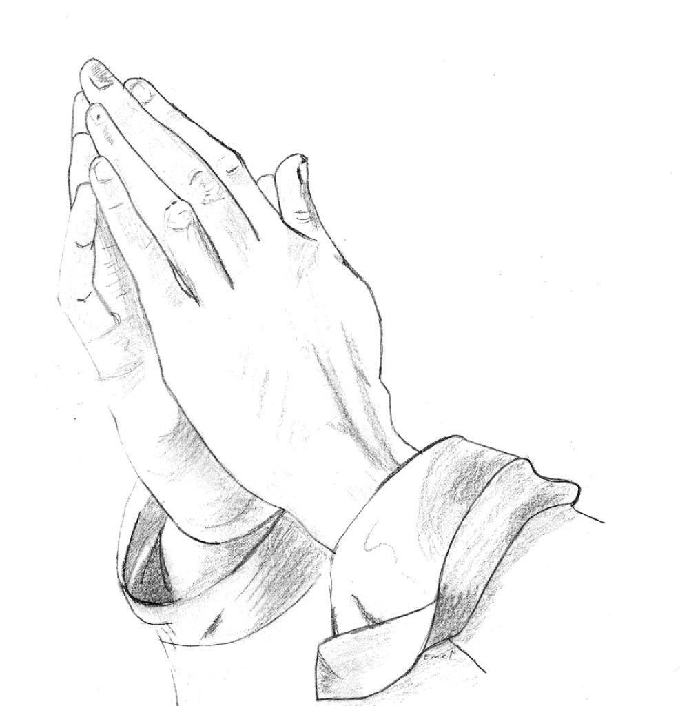 Outline of a hand and pencil drawing clipart image library download Praying Hands With Rosary Sketch at PaintingValley.com ... image library download