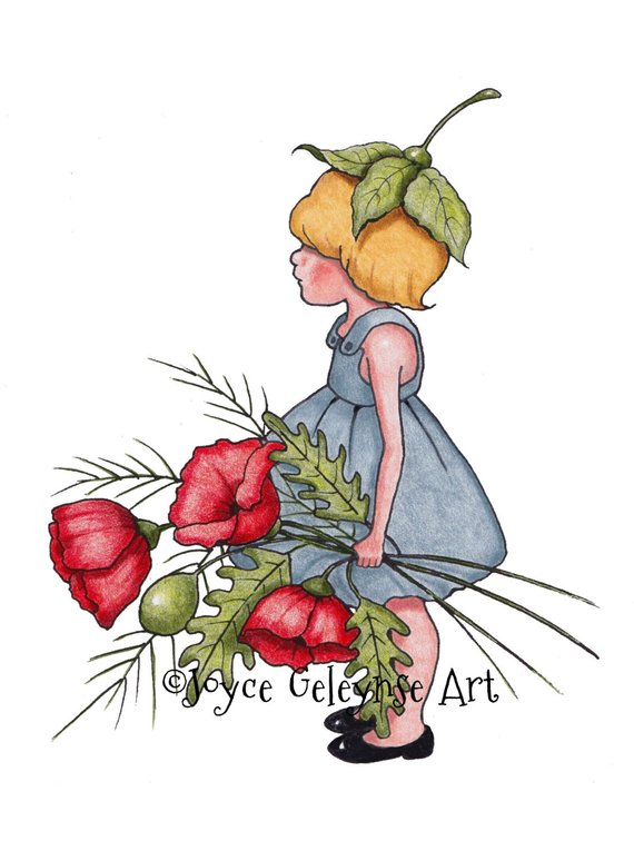 Outline of a hand and pencil drawing clipart clip library library Clipart, Hand Drawn, Little Girl with Big Poppies, Garden ... clip library library