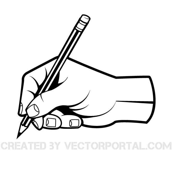 Outline of a hand and pencil drawing clipart clipart transparent library HAND WITH A PEN VECTOR CLIP ART - Free vector image in AI ... clipart transparent library