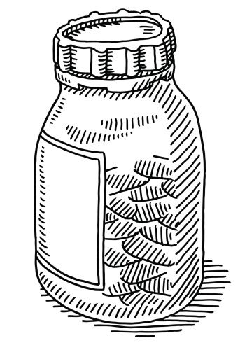 Outline of old fashioned medicine bottle clipart black and white image library library Medicine Pills Bottle Drawing | Tattoos in 2019 | Bottle ... image library library