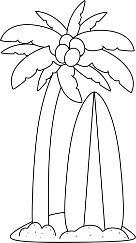 Outline of surfboard clipart graphic freeuse library Black and White Surfboard Under a Palm Tree Clip Art - Black and ... graphic freeuse library
