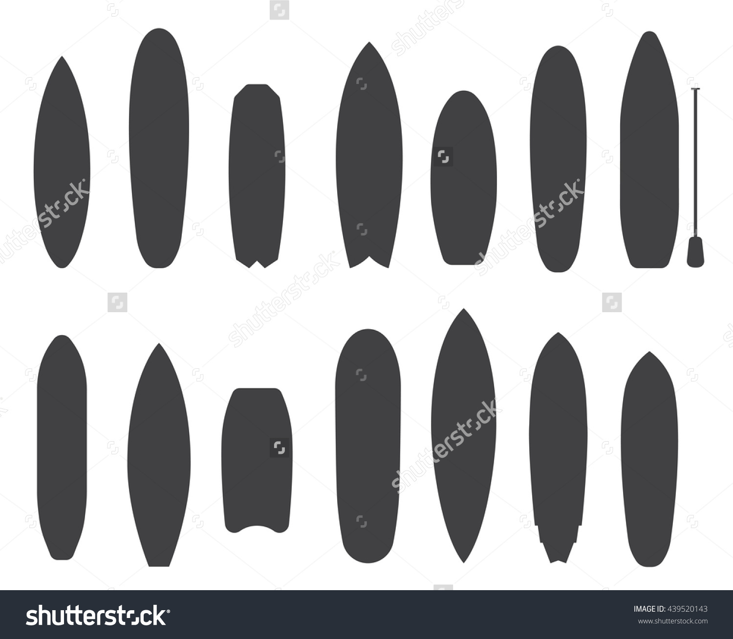 Outline of surfboard clipart vector black and white download Outline Surfboard Collection Flat Design Vector Stock Vector ... vector black and white download