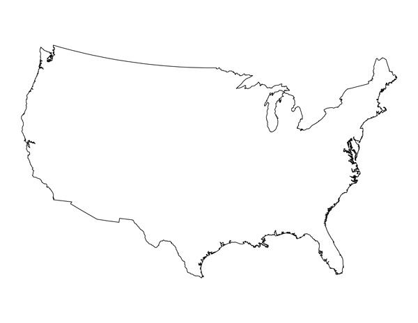 Outline of united states clipart picture library Blank Printable Map Of The United States - ClipArt Best picture library