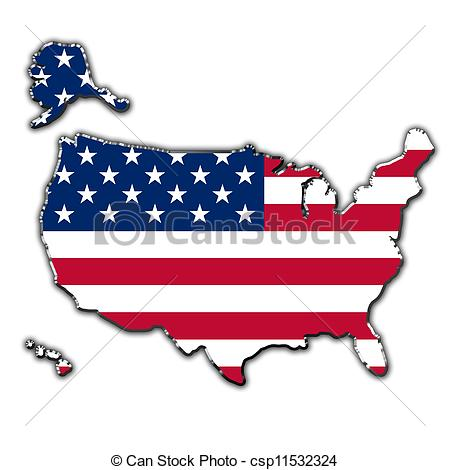 Outline of united states clipart clip black and white Clip Art of Stylized contour map of United States of America ... clip black and white