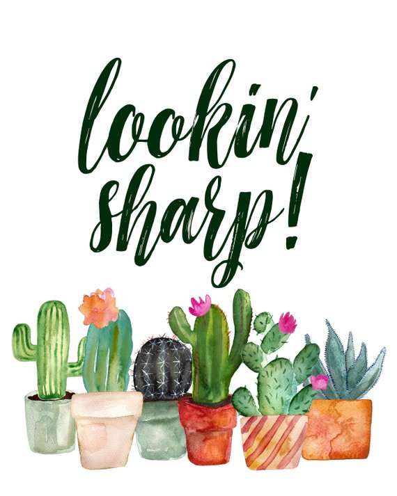 Outside house cactus clipart free to use clip freeuse Cactus Printable, Punny, Plant Pun, Lookin\' Sharp Cactus ... clip freeuse