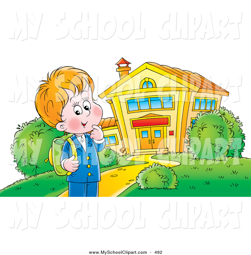 Outside school clipart svg transparent download Clip Art of a Happy Little School Boy Standing Outside a ... svg transparent download