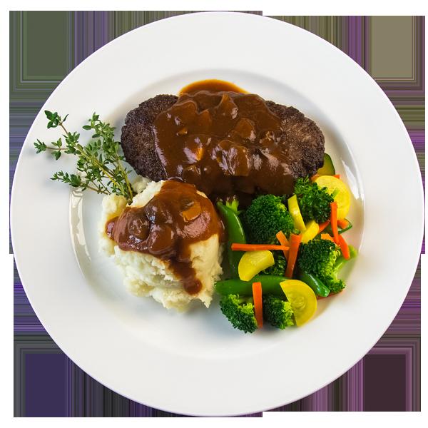 Oven with turkey clipart black and white Hamburger Steak – Raley's Chefs Menu black and white