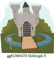 Over the moat clipart graphic black and white library Drawbridge Clip Art - Royalty Free - GoGraph graphic black and white library