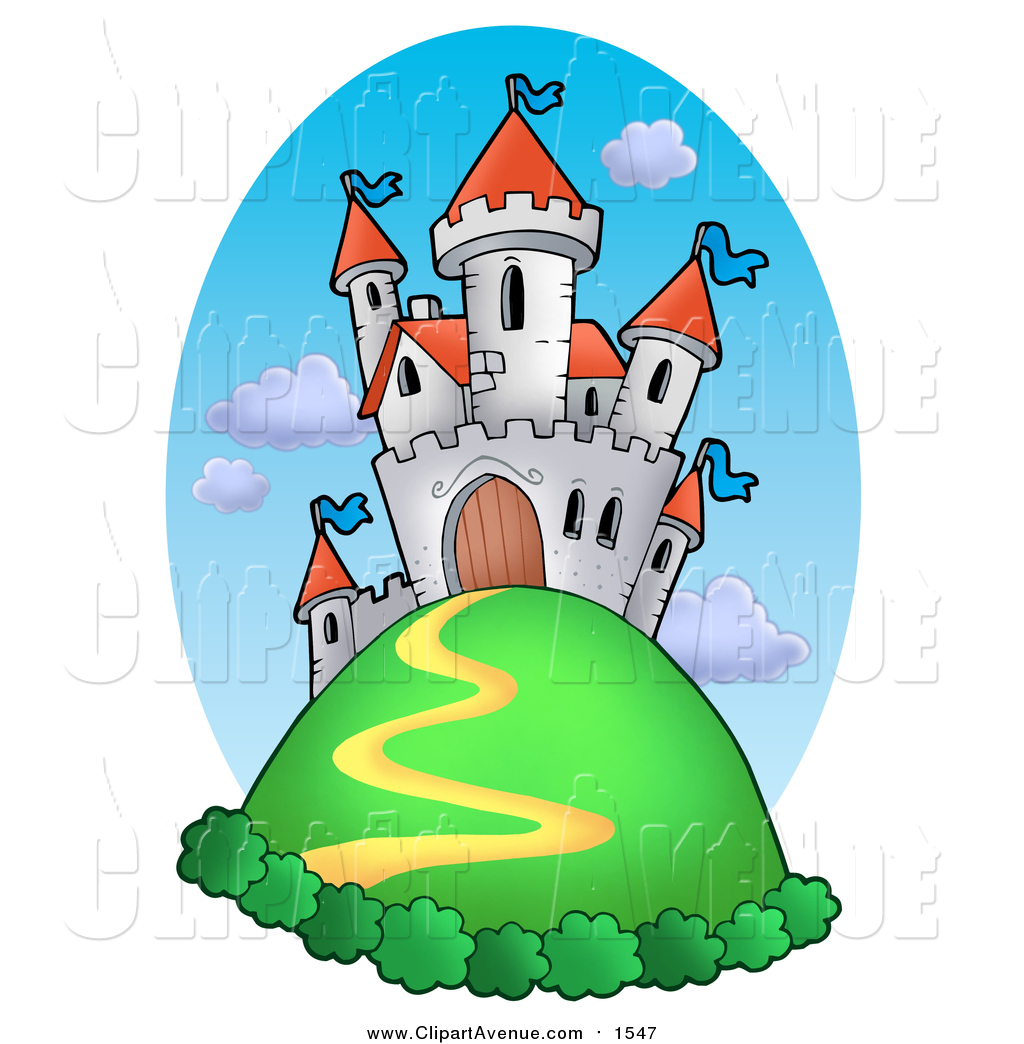 Over the moat clipart jpg royalty free download Avenue Clipart of a White Castle on a Hill Top Against Sky ... jpg royalty free download
