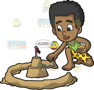Over the moat clipart image royalty free library A Black Boy Building A Moat Wall Around His Sandcastle image royalty free library