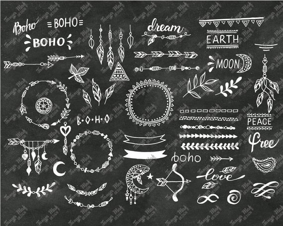 Overlays photoshop clipart picture black and white library Hand Drawn Boho Clipart, Boho Photoshop Overlays, Vector ... picture black and white library