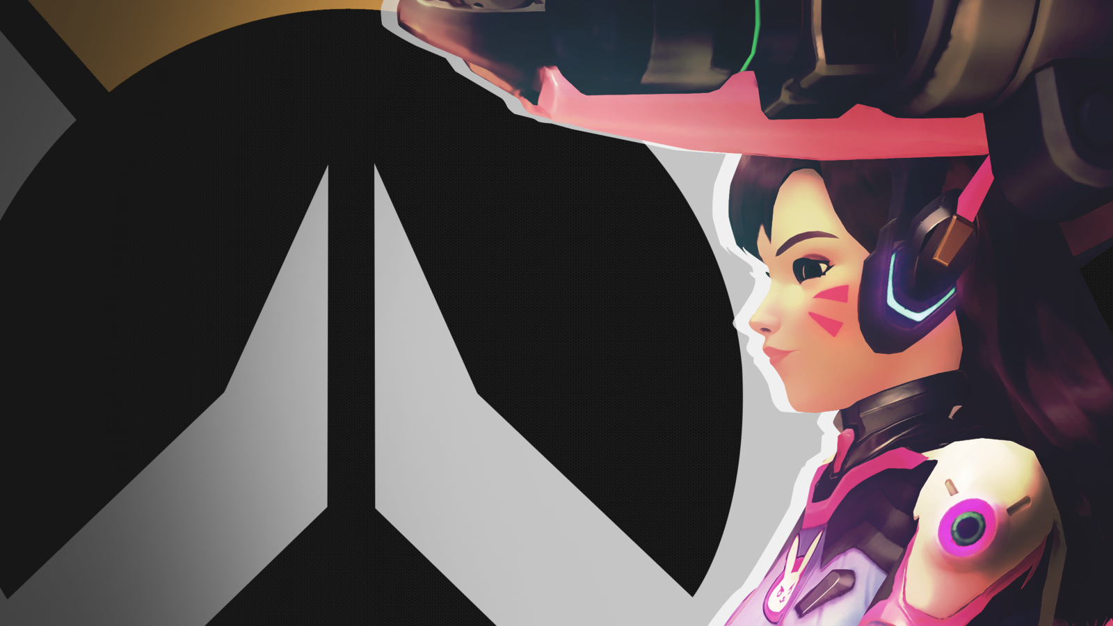 Overwatch clipart dva banner black and white download Overwatch Side Profile Wallpaper - Dva by PT-Desu on DeviantArt banner black and white download