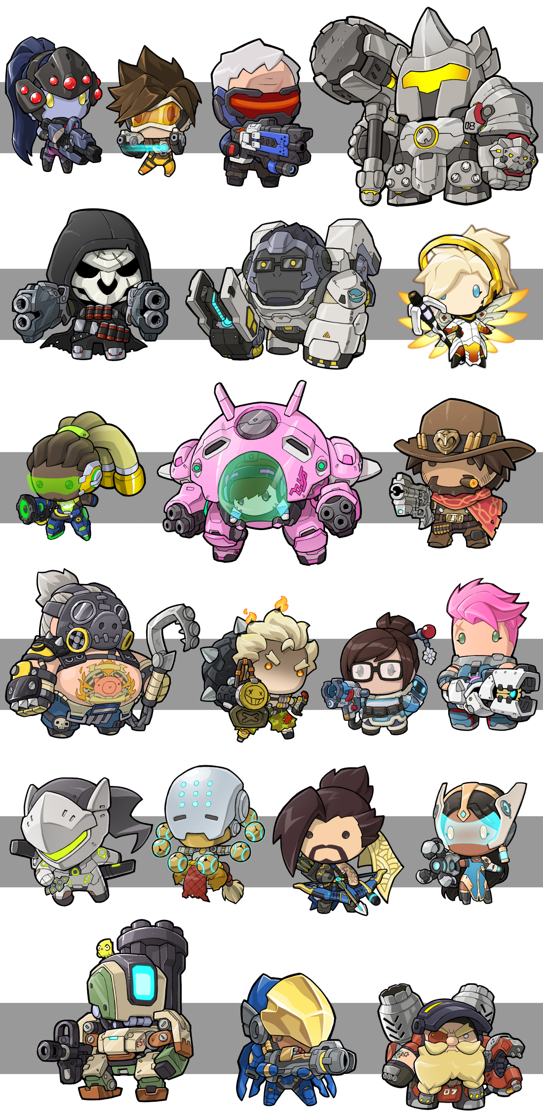 Overwatch clipart reaper clip transparent library Overwatch - Chibi style; Widowmaker, Tracer, Soldier: 76 ... clip transparent library