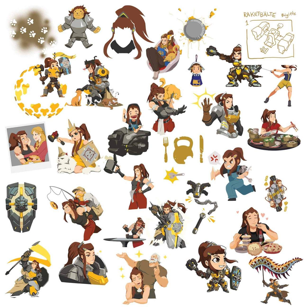 Overwatch hero cliparts graphic download Brigitte Overwatch Stickers Clipart | Overwatch Clipart in ... graphic download