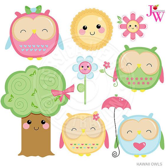 Owl april clipart jpg library download Kawaii Owls Cute Digital Clipart Cute Owl Clipart Owl Clip jpg library download