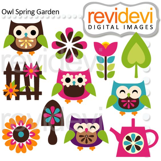 Owl april clipart clip freeuse library Owl Spring Flower Garden Clipart - perfect for scrapbooking, paper ... clip freeuse library