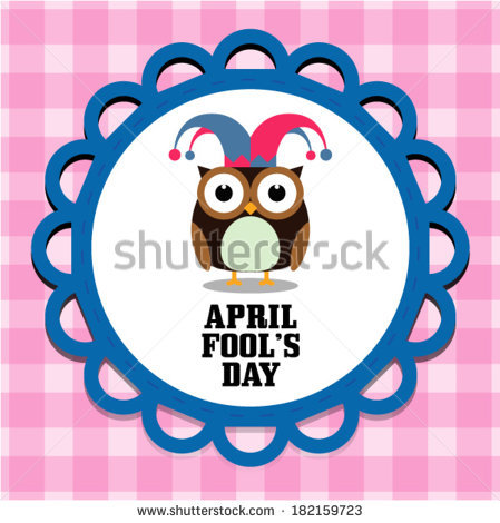 Owl april clipart png royalty free April Fools Day Message Cute Owl Stock Vector 182159723 - Shutterstock png royalty free