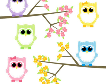 Owl april clipart graphic royalty free Spring owls clipart | Etsy graphic royalty free