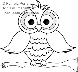 Owl at night black and white clipart clipart black and white library Black and White Clip Art Illustration of a Cartoon Owl ... clipart black and white library