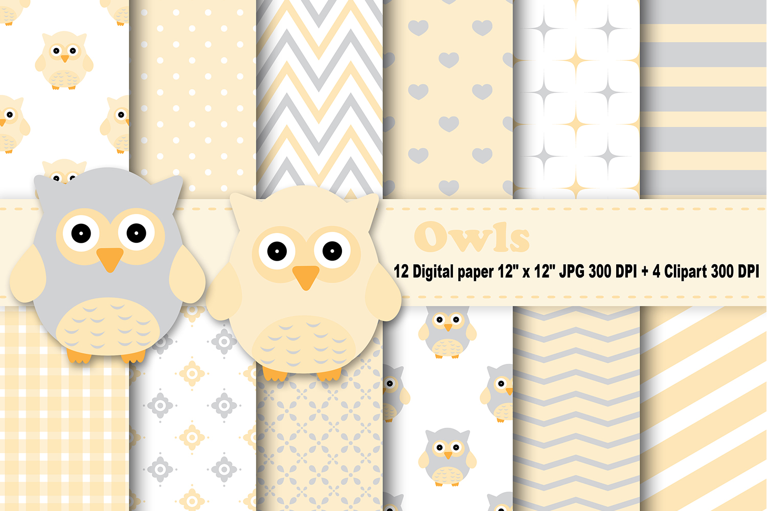 Owl background clipart jpg transparent library Owls Digital Paper, Yellow Owl Background, Baby Owl Pattern, Owl Scrapbook  Papers, Digital Scrapbook, Owl Printable, Owl Clipart. jpg transparent library