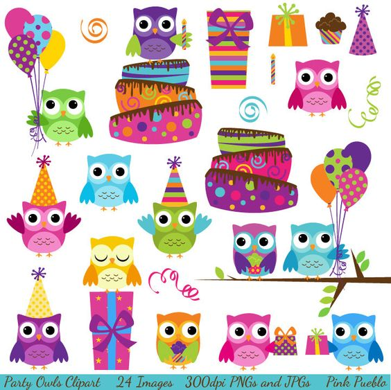 Owl clipart clipart picture black and white library Party Owls Clipart Clip Art, Birthday Owls Clipart Clip Art ... picture black and white library