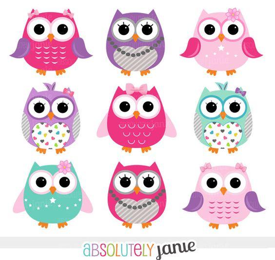 Owl clipart clipart vector royalty free download Chica rosa púrpura buhos Digital Clipart - Imágenes Prediseñadas ... vector royalty free download