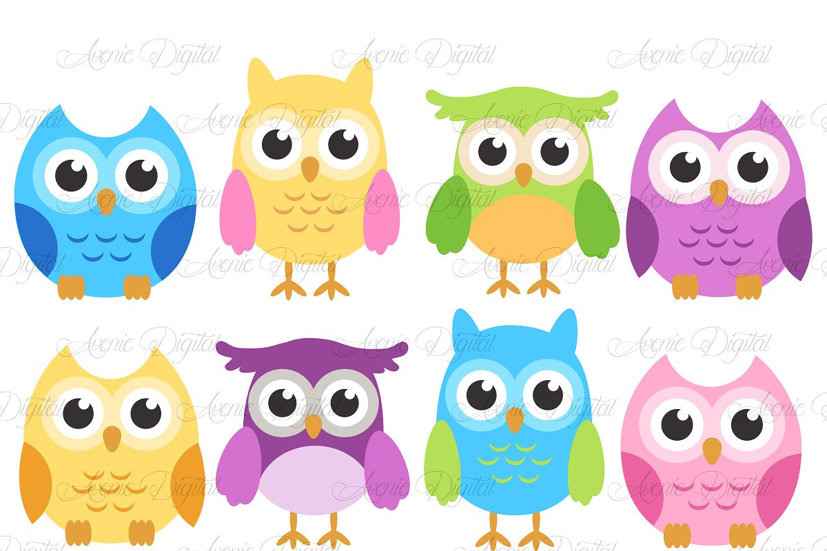 Owl cute clipart clipart transparent library Colorful Owls - Cute bird Clip art clipart transparent library