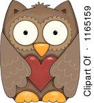 Owl hearts clipart
