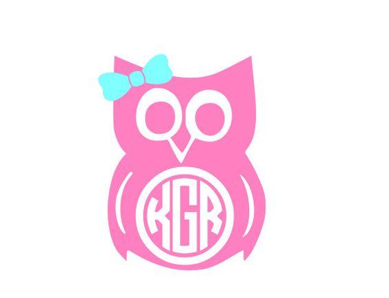 Owl monogram clipart graphic freeuse stock Baby Owl Circle Monogram Vinyl Decal by KatieBuggaDesigns ... graphic freeuse stock
