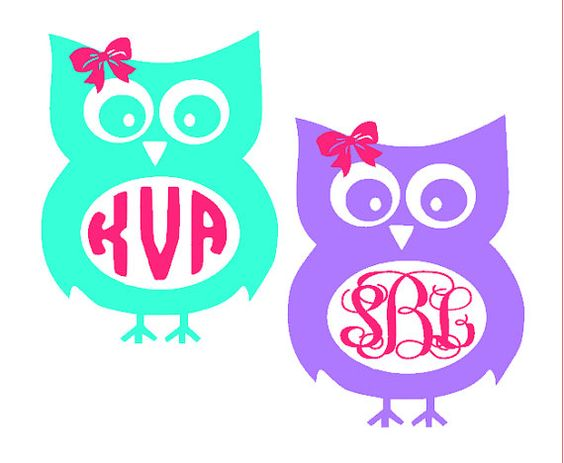 Owl monogram clipart banner freeuse library Owl with Bow Monogram Decal - Clip Art Library banner freeuse library