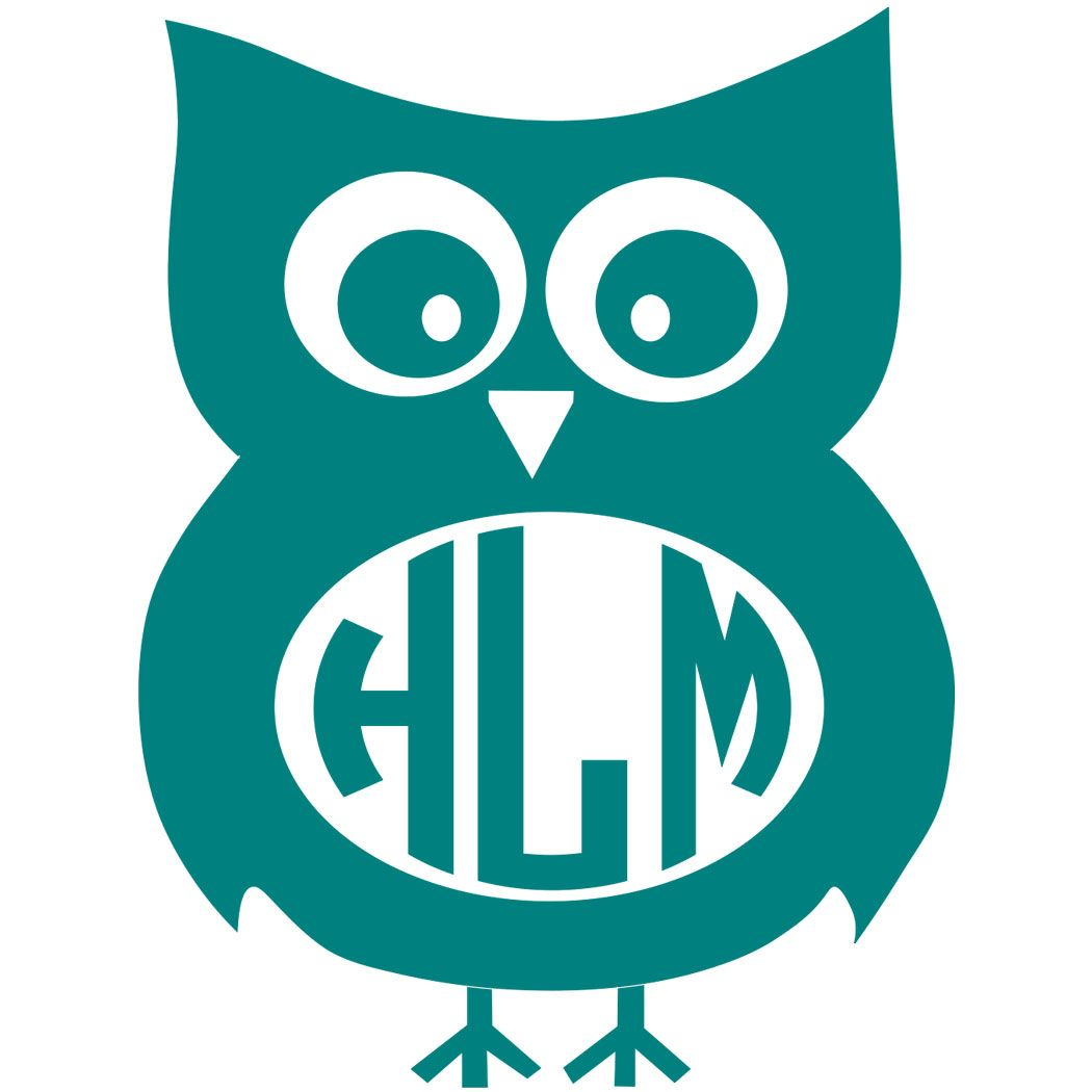 Owl monogram clipart clipart royalty free stock Owl Monogram Decal with Circle Font - Multiple Colors | All ... clipart royalty free stock