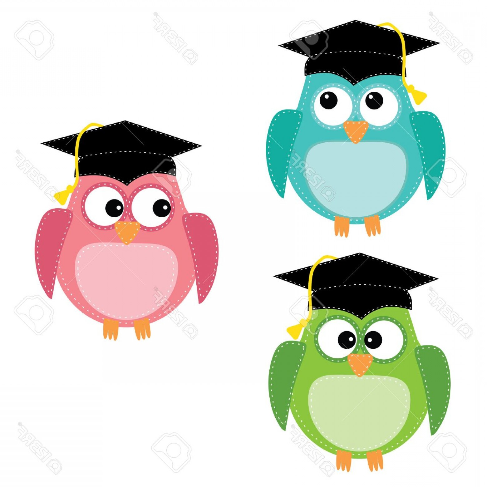 Owl with graduation cap clipart jpg black and white library Photostock Vector Three Owls With Graduation Caps For ... jpg black and white library
