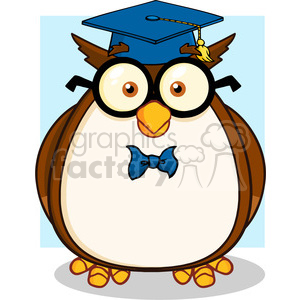 Owl with graduation cap clipart banner black and white download Illustration Wise Owl Teacher Cartoon Character With Glasses And Graduate  Cap clipart. Royalty-free clipart # 395633 banner black and white download