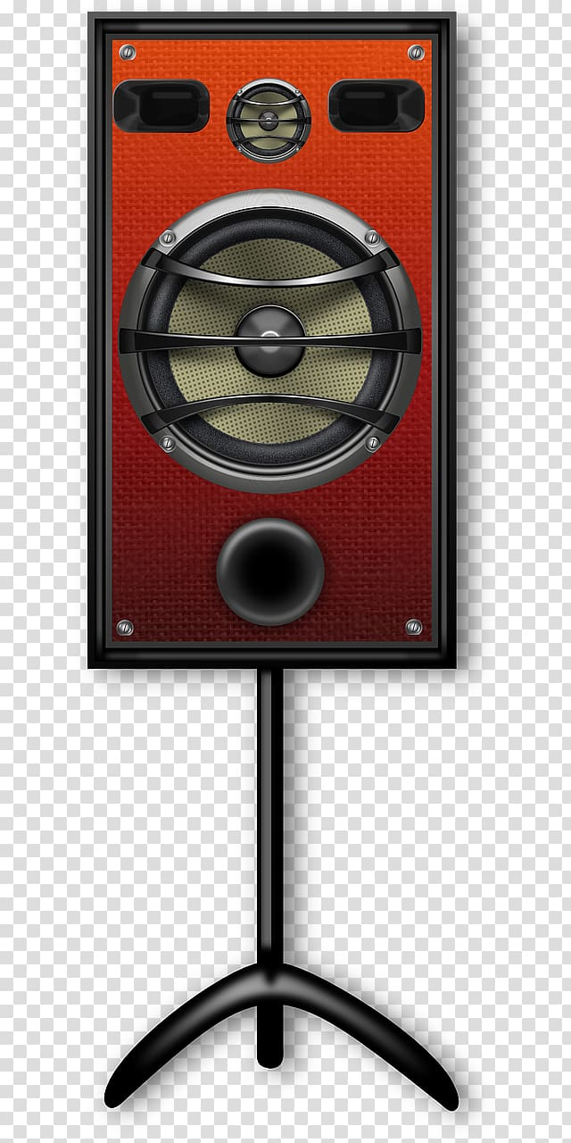Pa system clipart clip transparent Red PA speaker with stand, Loudspeaker Studio monitor ... clip transparent