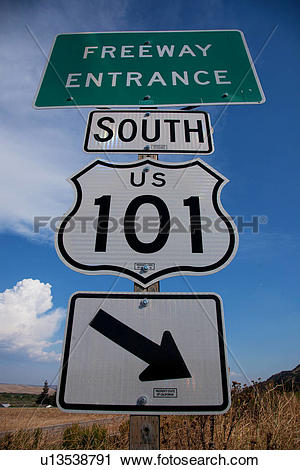 Pacific coast clipart clipart freeuse Stock Photography of Freeway Entrance sign to US Route 101 South ... clipart freeuse