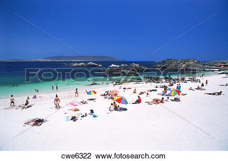 Pacific coast clipart clip royalty free stock Stock Photo of Sunbathers on white sandy beach at Bahia Inglesa ... clip royalty free stock
