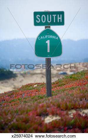 Pacific coast clipart banner black and white library Stock Photo of Pacific Coast Highway road sign x25974024 - Search ... banner black and white library