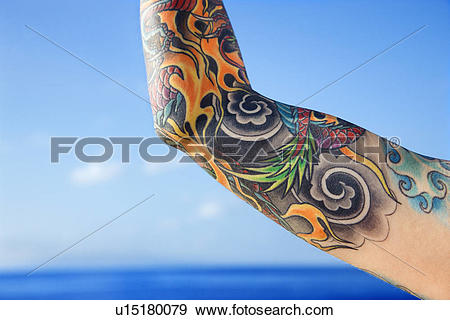 Pacific ocean clipart clip free stock Stock Photograph of Close up of tattooed woman's arm with Pacific ... clip free stock