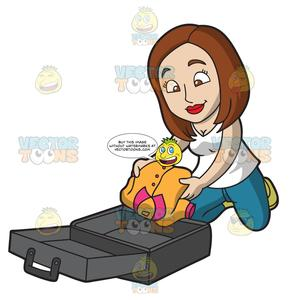 Pack suitcase clipart clip black and white A Pleasant Looking Woman Packing Her Suitcase clip black and white