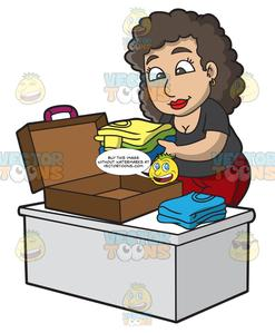 Pack a suitcase clipart picture transparent stock A Woman Packing Her Suitcase For A Vacation picture transparent stock