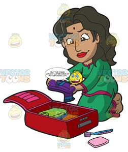 Packingsuticase clipart graphic library An Indian Woman Packing Her Suitcase graphic library