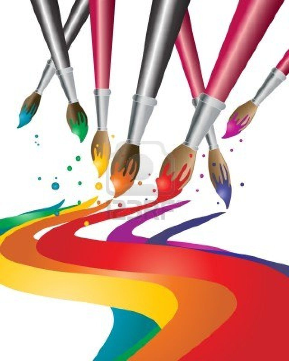 Paint brush and cavas clipart clip transparent library An illustration of artists paint brushes with colorful paint ... clip transparent library