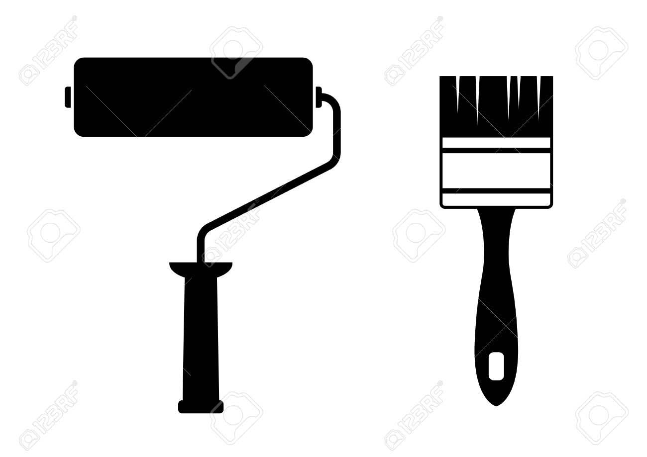 Paint brush and roller clipart black and white