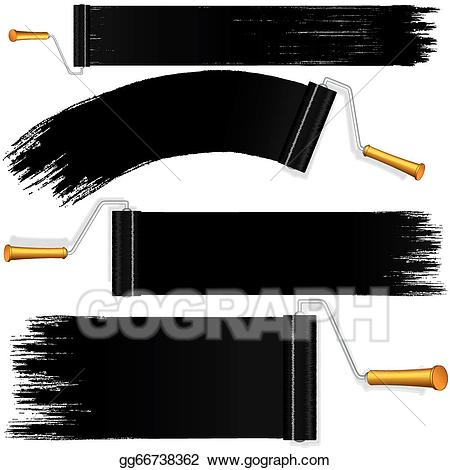 Paint brush and roller clipart black and white clip library Vector Illustration - Black roller brush on white background ... clip library