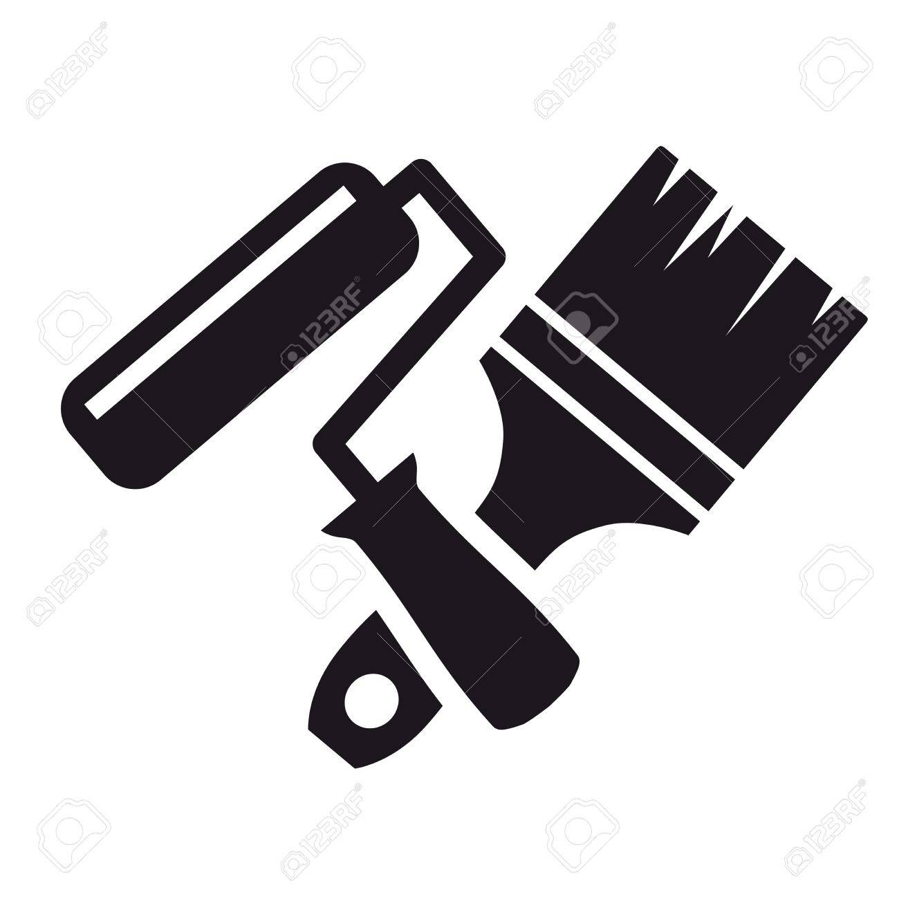 Paint brush and roller clipart black and white image free stock Paint Roller Clipart Black And White image free stock