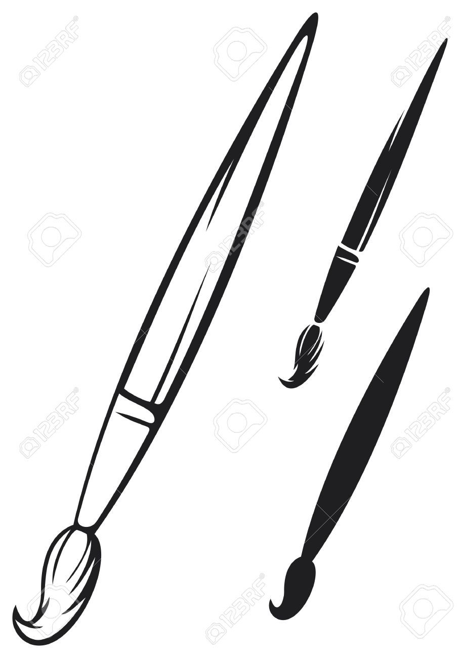 Paint brush clipart black and white picture transparent stock Paint brush clipart black and white 1 » Clipart Portal picture transparent stock