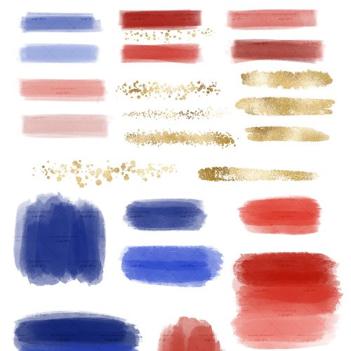 Paint brush stroke clipart jpg royalty free Blue Red Gold Digital Watercolor Paint Brush Strokes Textures Clipart PNG jpg royalty free
